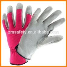 Ladies Cowhide Leather Spandex Gloves