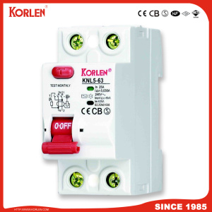 KORLEN patented High Quality Residual Current Operated Circuit Breaker Knl5-63 RCCB with Silver Contact  Ce CB TUV