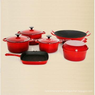 6PCS Esmalte Ferro Fundido Cookware Conjunto Fabricante Da China