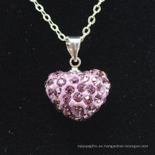 Nueva arcilla cristalina Shamballa del color de rosa de la llegada del collar de Shamballa de la nueva llegada del corazón de la llegada con el collar de las cadenas de plata