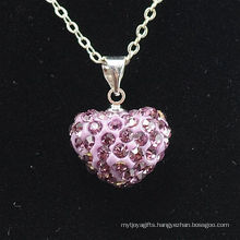 new arrival Shamballa Necklace Wholesale Heart Shape New Arrival Pink Crystal Clay Shamballa With Silver Chains Necklace