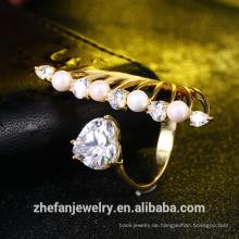 Großhandel Schmuck Hersteller Frauen Zubehör neue Design Herz Ring Perle Ring