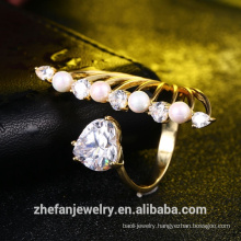 wholesale jewelry manufacturer women accessories new design heart ring pearl ring