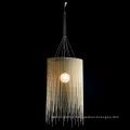 Morden Round Aluminum Chain and Farbic Pendant Lamp