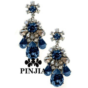 Acrylic Stones Crystal Flower Leaf Shape Fashion Jewelry Earrings