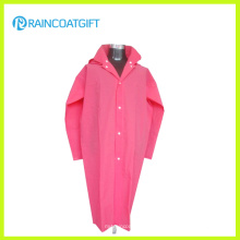 Fashion Pink Soft EVA Women′s Raincoat with Long Sleeve Rvc-159