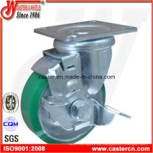 4-Zoll-Blau-PU-Drehgelenk mit Bremsrolle