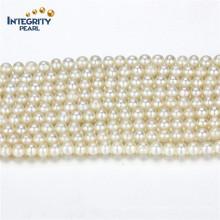 Vente en gros de fils de perles d'eau douce naturelle Taille 3-4mm Round a + White Cultured Pearl Strand