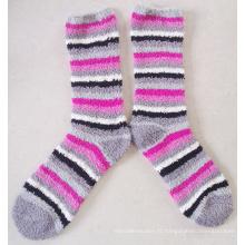 Chaussettes en microfibre Multiply Stripe Lady Soft Cozy avec rayures