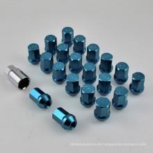 20 + 1PCS Sechskant-Radnuss mit eloxierter blauer Oberfläche