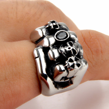 Stainless Steel Biker Skull Silver Big fist Ring