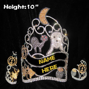 10in Height Crystal Halloween Balck Cat Crowns With Pumpkins