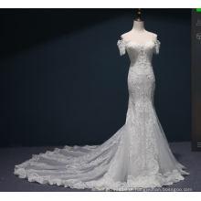 Vestido de casamento nupcial de sereia com laço de manga