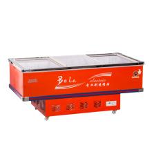 538L Porta deslizante Flat Gabinete Ilha Freezer para Supermercado