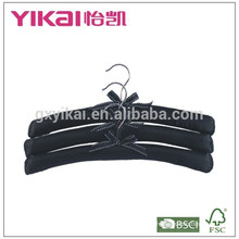 Set of 3pcs pure black satin padded hanger