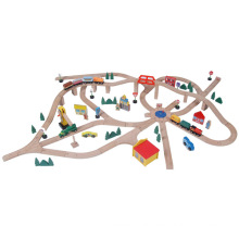 145pcs trem ferroviário de madeira que joga o brinquedo ajustado