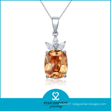 Lovely Champagne CZ Prong Setting Silver Jewelry Necklace (SH-J0121N)