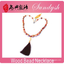 Gorgeous Wooden Jewelry Handmade Buddha Tassel Wooden Beaded Necklace