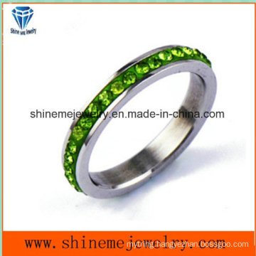 Shineme Jewelry Color Stones Stainless Steel Finger Ring (CZR2574)