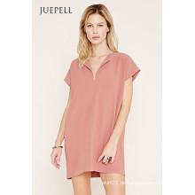 Einfache reine Farbe Kurzarm Casual Damen Kleid