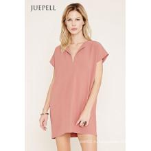 Простой Pure цвет с коротким рукавом платье для женщин