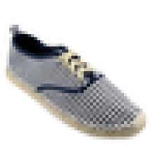 Navy stripe canvas shoe handmade espadrille jute sole lace up women or men flats shoe