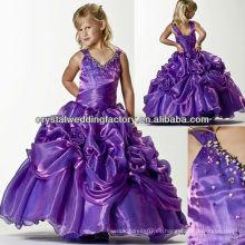 El envío libre 2013 rebordeó el vestido púrpura CWFaf5194 de la muchacha de flor del desfile del vestido de bola