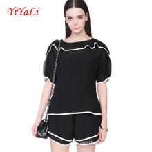 Suumer Новый Женская Мода Черный Шифон Костюмы