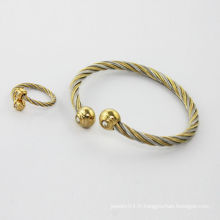Alibaba fournisseur 2014 bracelets en acier inoxydable plaqué or