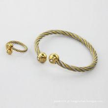 Alibaba fornecedor 2014 alta moda polonês ouro banhado pulseiras de aço inoxidável
