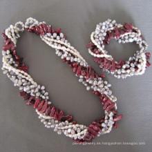 Joyería de la manera Joyería de la perla fijada (SET)