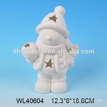 2016 figurilla de cerámica superventas de la Navidad, ornamentos blancos del tealight de la Navidad de la porcelana