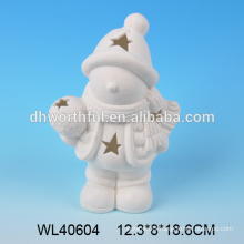 2016 best selling ceramic christmas figurine,white porcelain christmas tealight ornaments