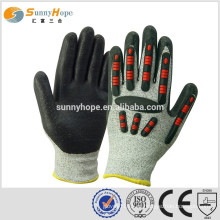 Sunnyhope PU revestido luvas de impacto industrial com TPR