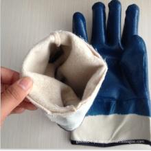 120g punhos de segurança azul nitrilo mergulhado luvas
