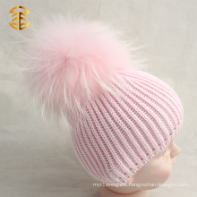 Fashion Genuine Raccoon Fur Pom Pom Baby CC Beanie Hat