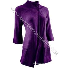 Cardigan de malha de cashmere longo das mulheres (hm-sw09019)