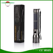 Solar Powered Taschenlampe, Aluminiumlegierung Handheld Taschenlampe Wiederaufladbare LED Taschenlampe mit USB Ladekabel für Camping, Wandern, Klettern, Outdoor Sports