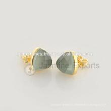 Оптовая продажа полудрагоценный камень Безель серьги-гвоздики, натуральный камень 925 стерлингового серебра серьги в Поставщик ювелирных изделий Безель