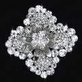 New Fashion Silver Alloy Flower clear rhinestone Brooches Crystal Pins Women Wedding bridesmaid Brooch