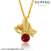 32578 moda elegante diamante cz 24 k banhado a ouro inseto libélula imitação de jóias cadeia pingente