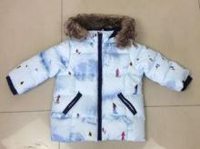 Boys' padded winter jacket light blue overcoat for Europe m