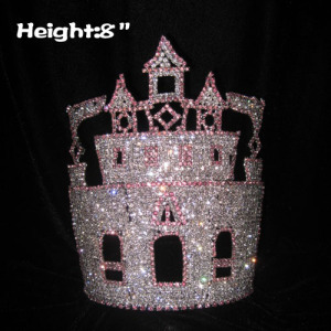 8in Height Wholesale Rhinestone Castle Crowns