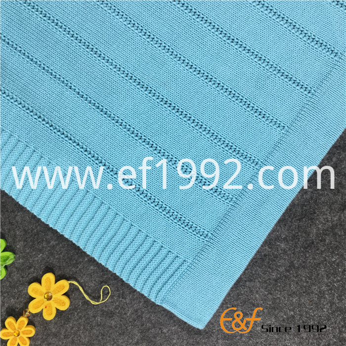 cotton plain knitted throw blanket