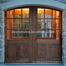 Vintage Half 9 lite panel doble Diseño Interior de madera Puerta de granero corrediza Puerta de nudo de aliso de pino comercial interior mitad puertas