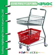 Корзина для пищевых продуктов с супермаркетом для продажи, цены на ручную тележку, продуктовый магазин 2-х уровневая корзина для покупок