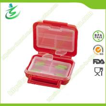 BPA freie Beutel-Form-Pille-Kasten mit 8-Kasten, quadratischer Pille-Kasten