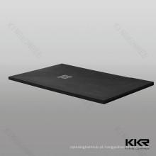 Personalizado resina de pedra preto chuveiro bandeja preço