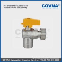 Válvula angular de bola para gas, hembra / tuerca con mango de aluminio
