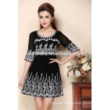 Vestido de seda hecho a mano de las mujeres del bordado 2016 Nuevo vestido de vestir de la venta al por mayor de la última última